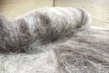 100 gram gewassen kaardvlies - Drents Heideschaap (grijs)_