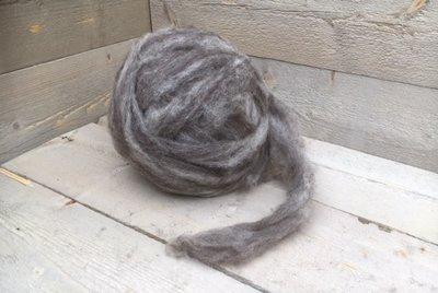 500 gram gewassen lontwol - Blauwe Texelaar (lichtgrijs)
