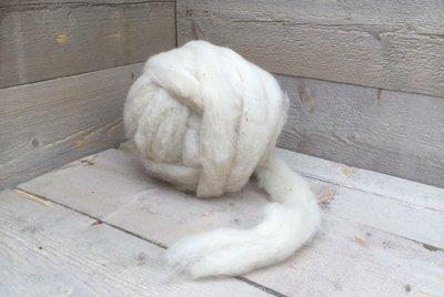 500 gram gewassen lontwol - Drents Heideschaap (ivoorwit)