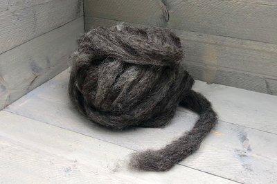 500 gram gewassen lontwol - Drents Heideschaap (grijs)
