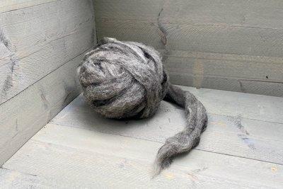 500 gram gewassen lontwol - Veenkolonist (grijs)