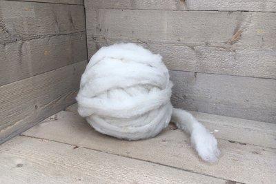 500 gram gewassen lontwol - Texelaar lamswol (ivoorwit)