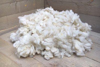 500 gram zachte vulling - gewassen vlokkenwol (wolwit)