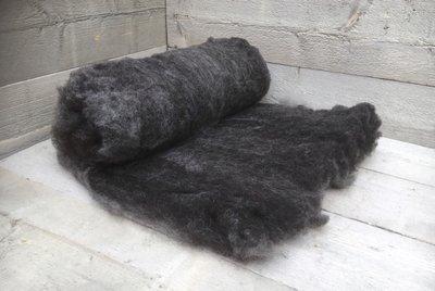 500 gram gewassen kaardvlies - Blauwe Texelaar (donkergrijs)