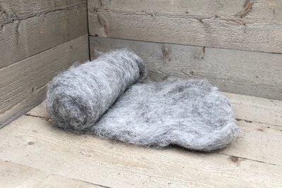 250 gram gewassen kaardvlies - Heidschnucke (grijs)