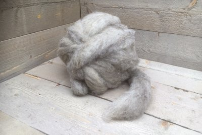 500 gram gewassen lontwol - Blauwe Texelaar (zilvergrijs)