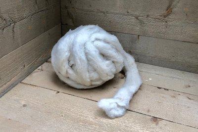 500 gram gewassen lontwol - basiswol / vulwol (wolwit)