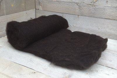 500 gram gewassen kaardvlies - Drents Heidesch. (bruinzwart)