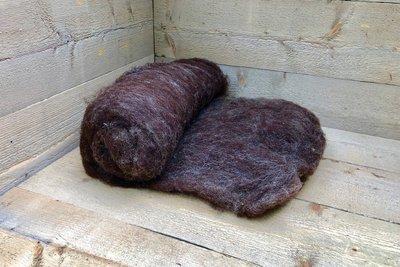 500 gram gewassen kaardvlies - Dassenkop (donker-kopergrijs)